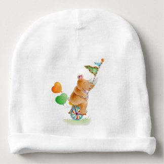 かわいい水彩画のサーカスのサイのベビーの帽子 ベビービーニー