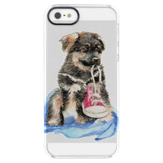 かわいい水彩画のジャーマン・シェパードの小犬ペット クリア iPhone SE/5/5sケース