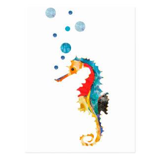 かわいい水彩画のタツノオトシゴのタツノオトシゴの海動物 はがき