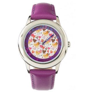 かわいい水彩画のハートパターン腕時計 ウオッチ