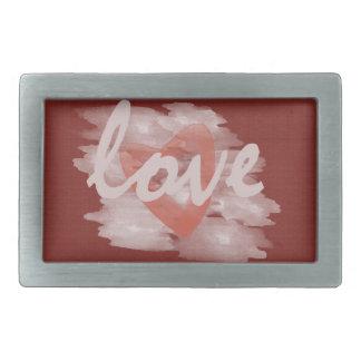 かわいい水彩画のハート愛赤のキャンバス 長方形ベルトバックル