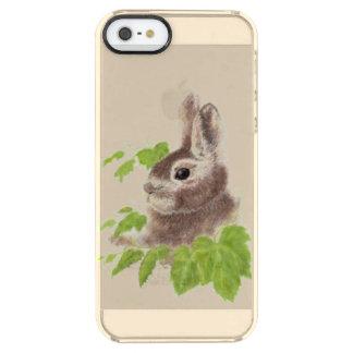 かわいい水彩画のバニーウサギ動物の芸術 クリア iPhone SE/5/5sケース