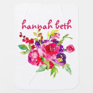 かわいい水彩画のピンクの花柄 ベビー ブランケット