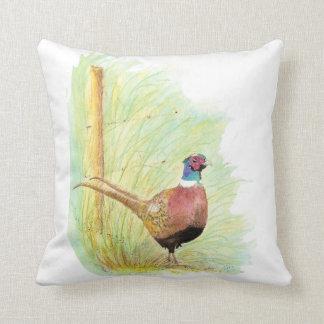 かわいい水彩画のリングネックのキジの鳥 クッション