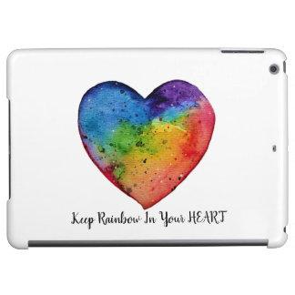 かわいい水彩画の虹のハート iPad AIRケース