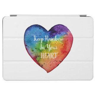 かわいい水彩画の虹のハート iPad AIR カバー