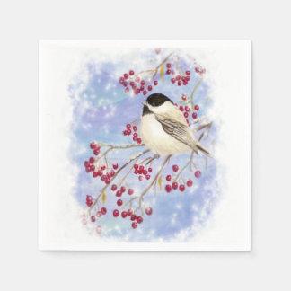 かわいい水彩画の《鳥》アメリカゴガラの果実のクリスマスの雪 スタンダードカクテルナプキン