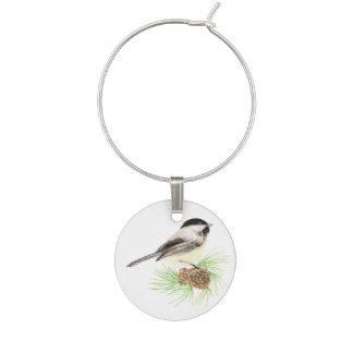 かわいい水彩画の《鳥》アメリカゴガラの鳥の松の木 ワインチャーム