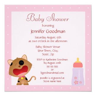 かわいい泣き叫びの子ネコのピンクのベビーシャワー カード