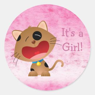 かわいい泣き叫びの漫画の子ネコそれは女の子の新生児です ラウンドシール