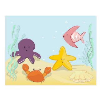かわいい海洋動物 ポストカード
