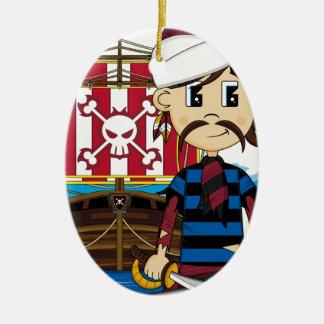 かわいい海賊および船のオーナメント セラミックオーナメント