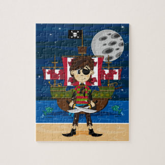 かわいい海賊および船のジグソーパズル ジグソーパズル
