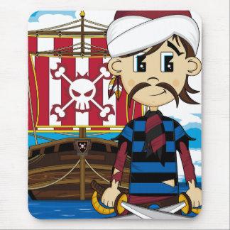 かわいい海賊および船のマウスパッド マウスパッド