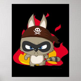 かわいい海賊アライグマのおもしろいな漫画のcharcterポスター ポスター