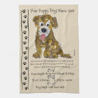 かわいい混合された品種漫画犬は台所タオルを引用します キッチンタオル