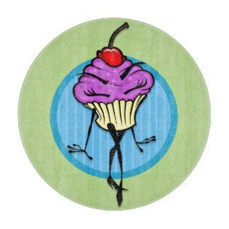 かわいい漫画のカップケーキの女性の円形のまな板 カッティングボード