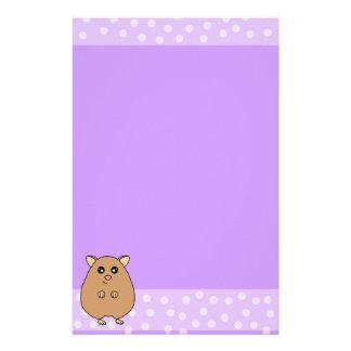 かわいい漫画のハムスターの文房具-紫色 便箋