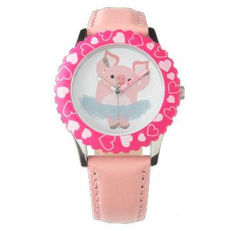 かわいい漫画のバレリーナのブタの腕時計 腕時計