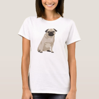 かわいい漫画のパグのTシャツ Tシャツ