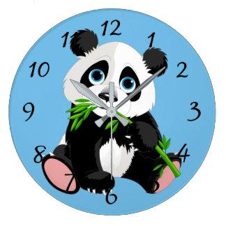 かわいい漫画のパンダくま ラージ壁時計