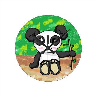 かわいい漫画のパンダ ラウンド壁時計