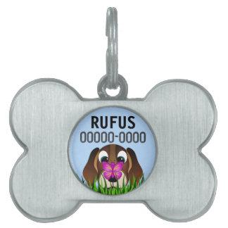 かわいい漫画のビーグル犬犬のペットタグ-骨 ペットネームタグ