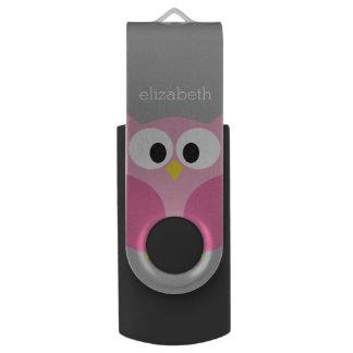 かわいい漫画のフクロウの-ピンクおよび灰色の名前をカスタムする USBフラッシュドライブ