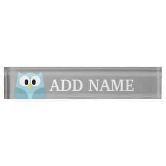 かわいい漫画のフクロウの-青および灰色の名前をカスタムする デスクネームプレート