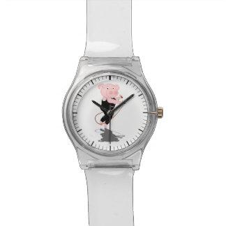 かわいい漫画のブタの省略 腕時計
