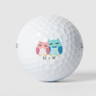 かわいい漫画のベクトルフクロウのカップルのモノグラム ゴルフボール