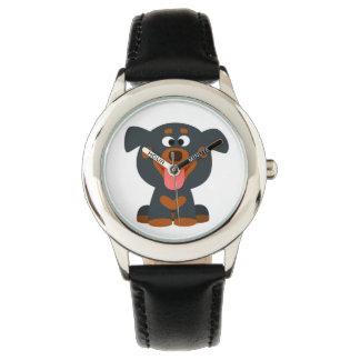かわいい漫画のベビーのロットワイラーの腕時計 腕時計