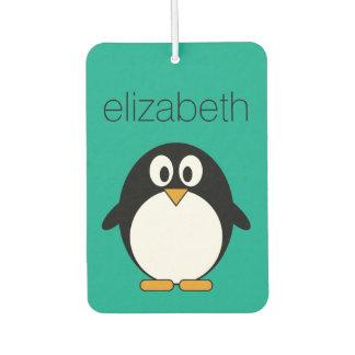 かわいい漫画のペンギンのエメラルドおよび黒 カーエアーフレッシュナー