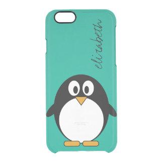 かわいい漫画のペンギンのエメラルドおよび黒 クリアiPhone 6/6Sケース