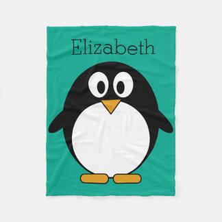 かわいい漫画のペンギンのエメラルドおよび黒 フリースブランケット