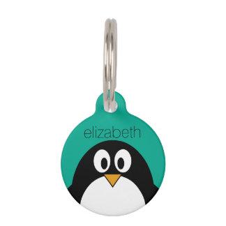 かわいい漫画のペンギンのエメラルドおよび黒 ペット ネームタグ