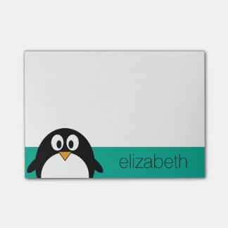 かわいい漫画のペンギンのエメラルドおよび黒 ポストイット