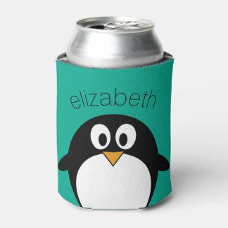 かわいい漫画のペンギンのエメラルドおよび黒 缶クーラー