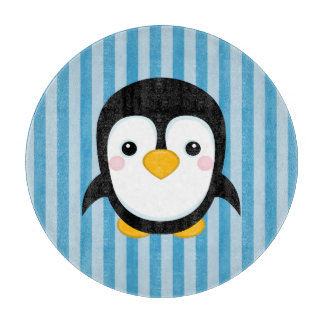 かわいい漫画のペンギンのデザインの青い縞パターン カッティングボード