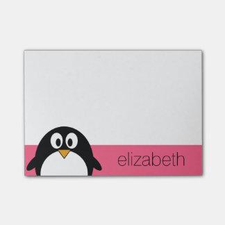 かわいい漫画のペンギンの絵のショッキングピンクの黒 ポストイット