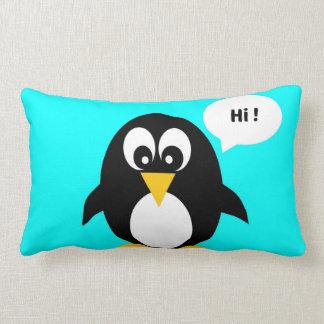 かわいい漫画のペンギンの青のこんにちは枕 ランバークッション