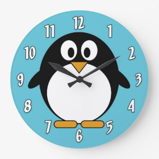 かわいい漫画のペンギン ラージ壁時計