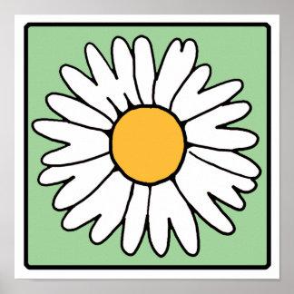 かわいい漫画のレトロのデイジーの春の庭の花 ポスター