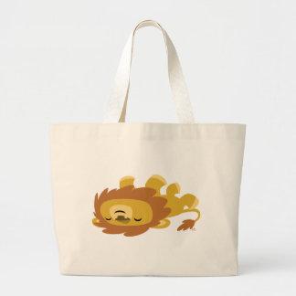 かわいい漫画の不精なライオンのバッグ ラージトートバッグ