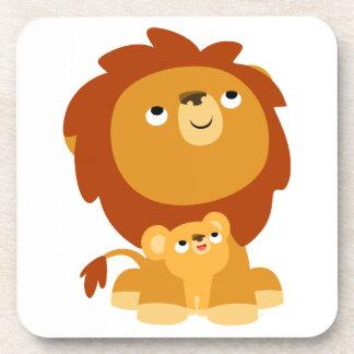 かわいい漫画の保護パパのライオンのコースターセット コースター