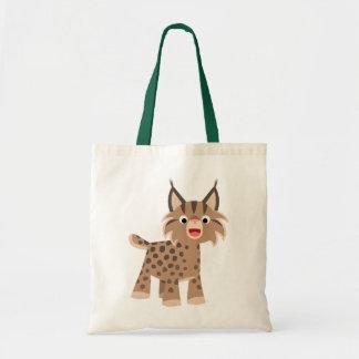 かわいい漫画の幸せなオオヤマネコのバッグ トートバッグ