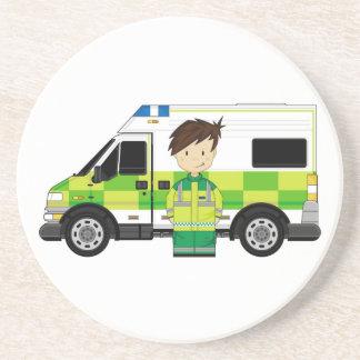 かわいい漫画の救急車およびEMT コースター
