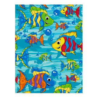 かわいい漫画の熱帯魚 ポストカード
