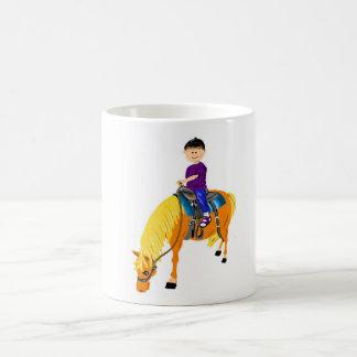 かわいい漫画の男の子の乗馬馬の子馬の漫画のgfits コーヒーマグカップ