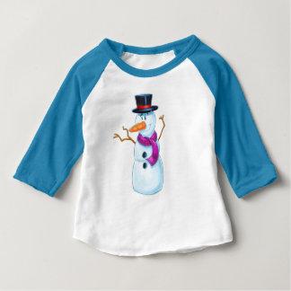 かわいい漫画の雪だるまのワイシャツ ベビーTシャツ